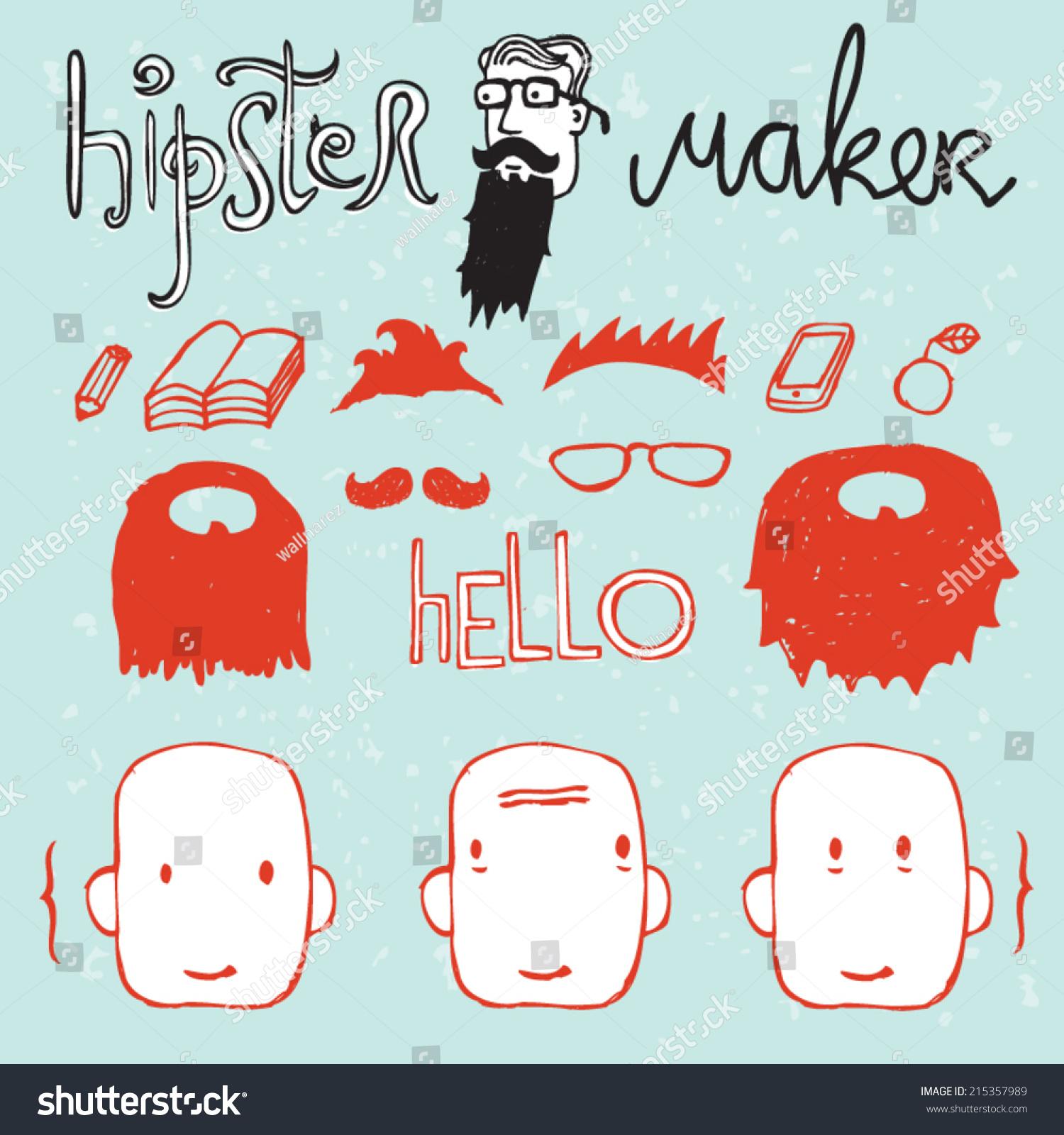 Hipster Maker Avatar Creator Stock Vector Illustration