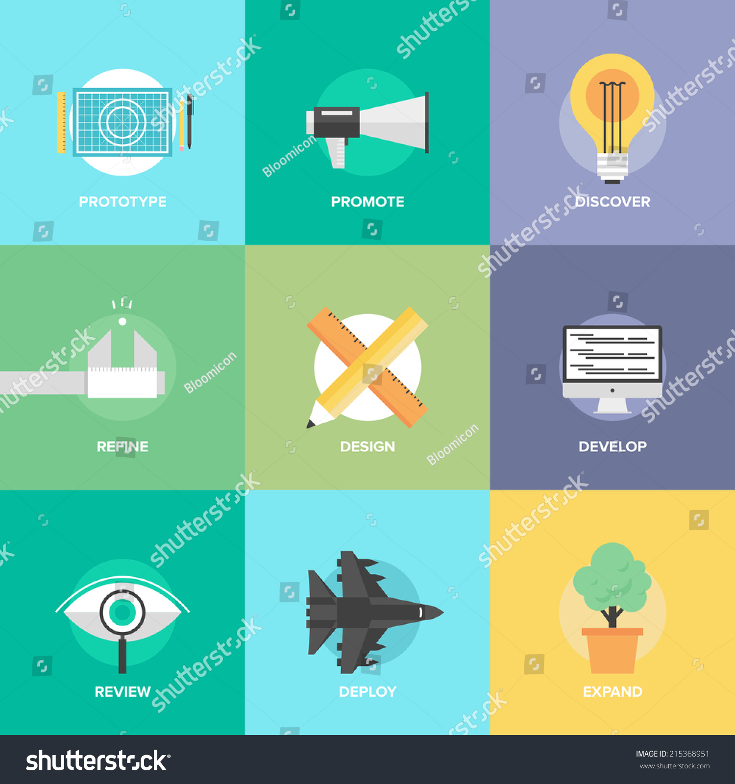 Flat design icons set creative design stock vector for Product design studio