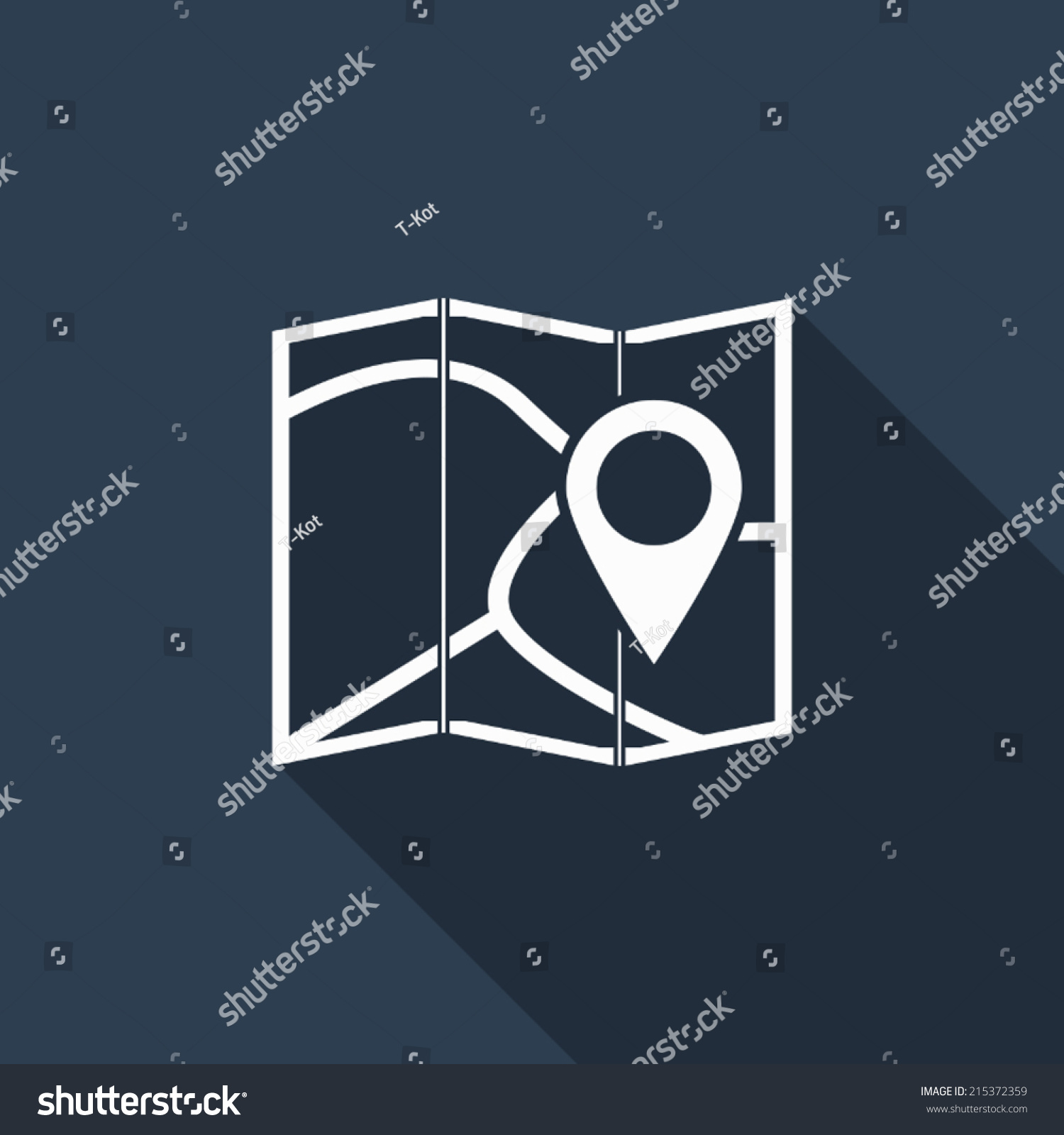 Pin Map Icon Long Shadow Stock Vektorgrafik Lizenzfrei 215372359