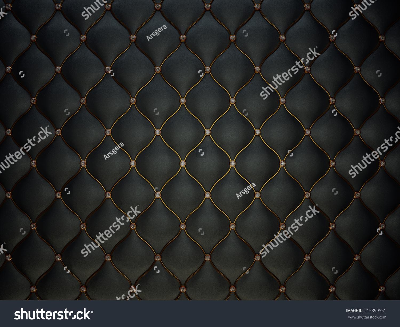 Black Buttoned Luxury Leather Pattern Diamonds Stock Photo