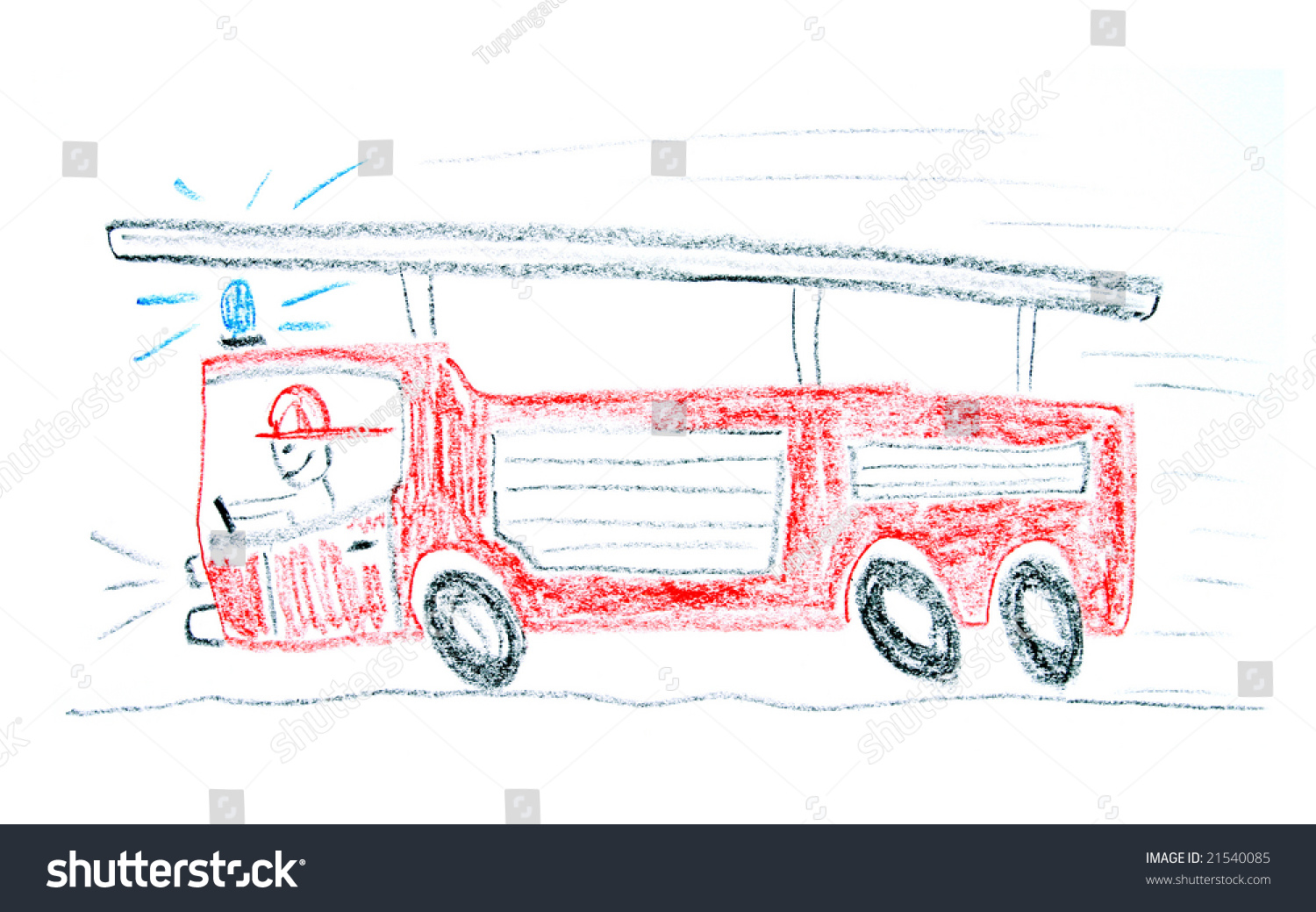 child drawing fire truck made wax stock photo 21540085 shutterstock
