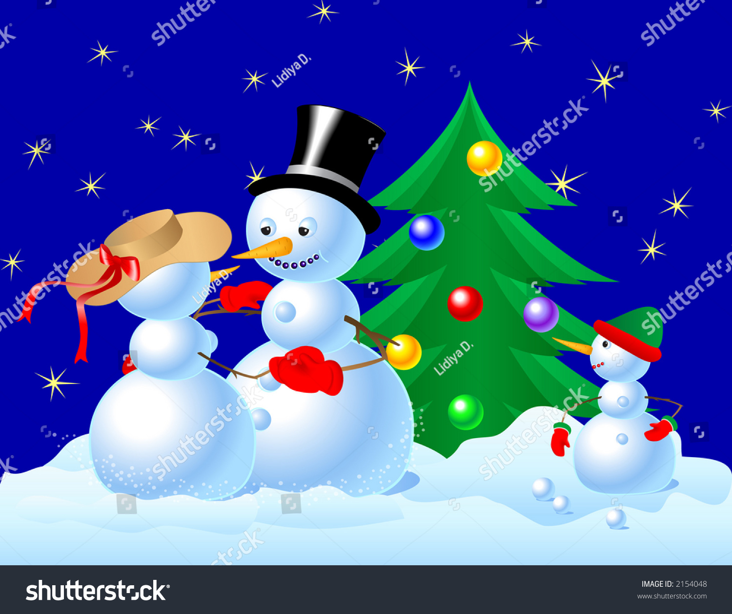 Snowmen Dancing Front Small Snowman Christmas Stock Photo Edit Now 2154048