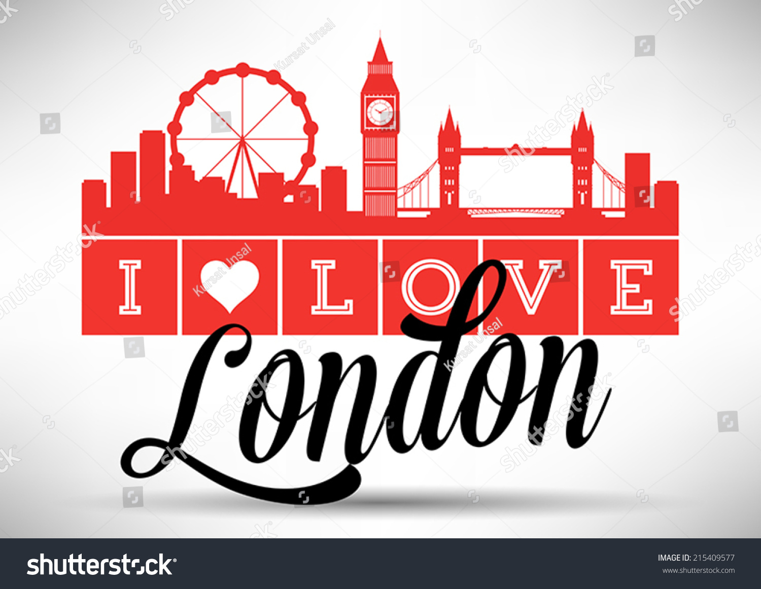 I Love London Typography Design Stock Vector Illustration