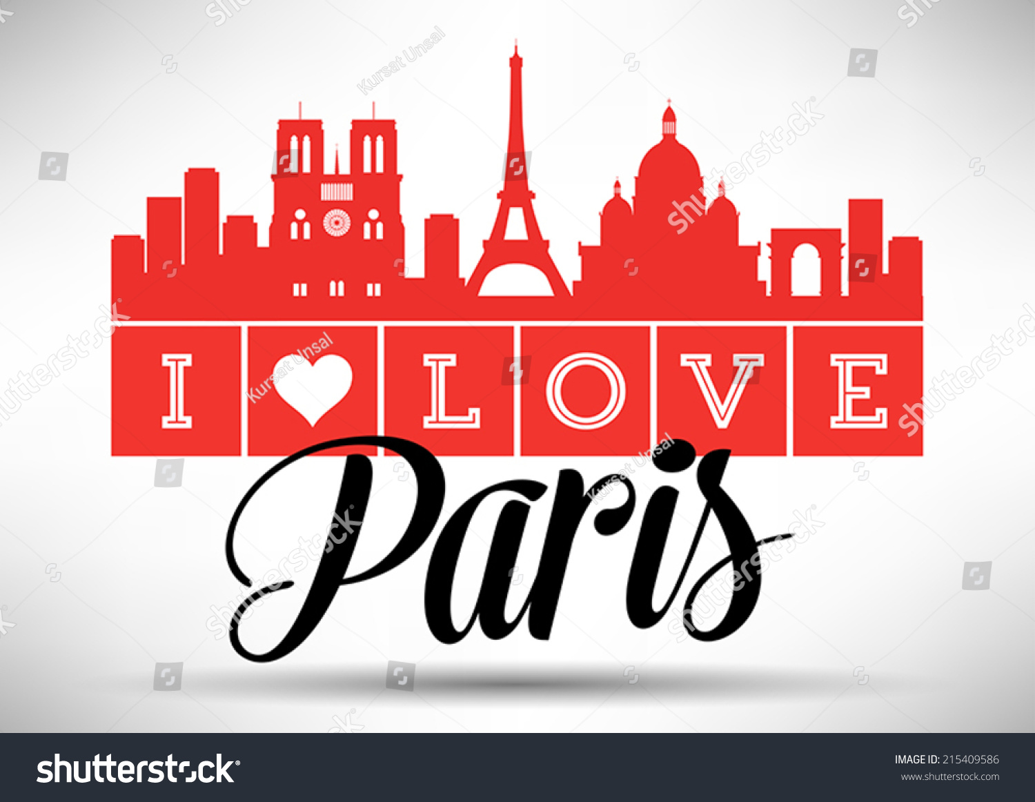 Love paris typography design stock vector 215409586 for Love the design