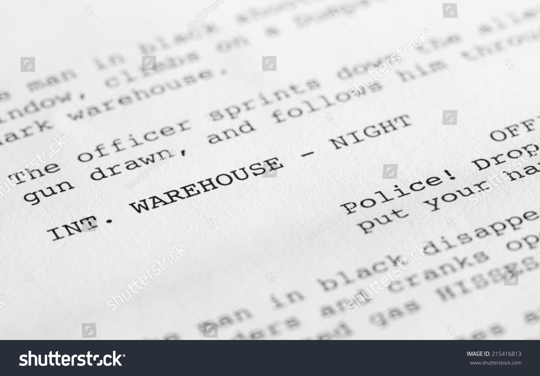 closeup page screenplay script proper hollywood stock photo edit