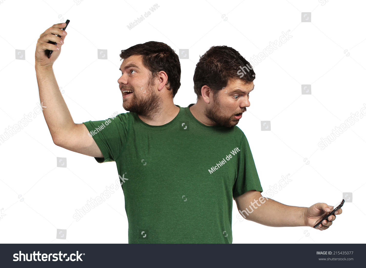 checking phone Person