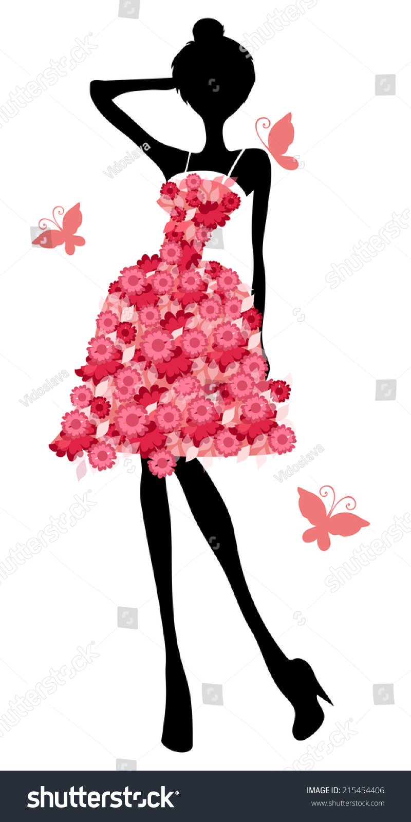 Silhouette Of A Girl In A Beautiful Dress Stock Vector ...