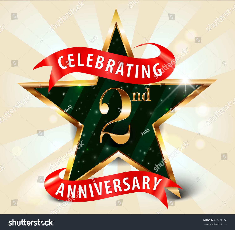 2 Year Anniversary Celebration Golden Star Ribbon