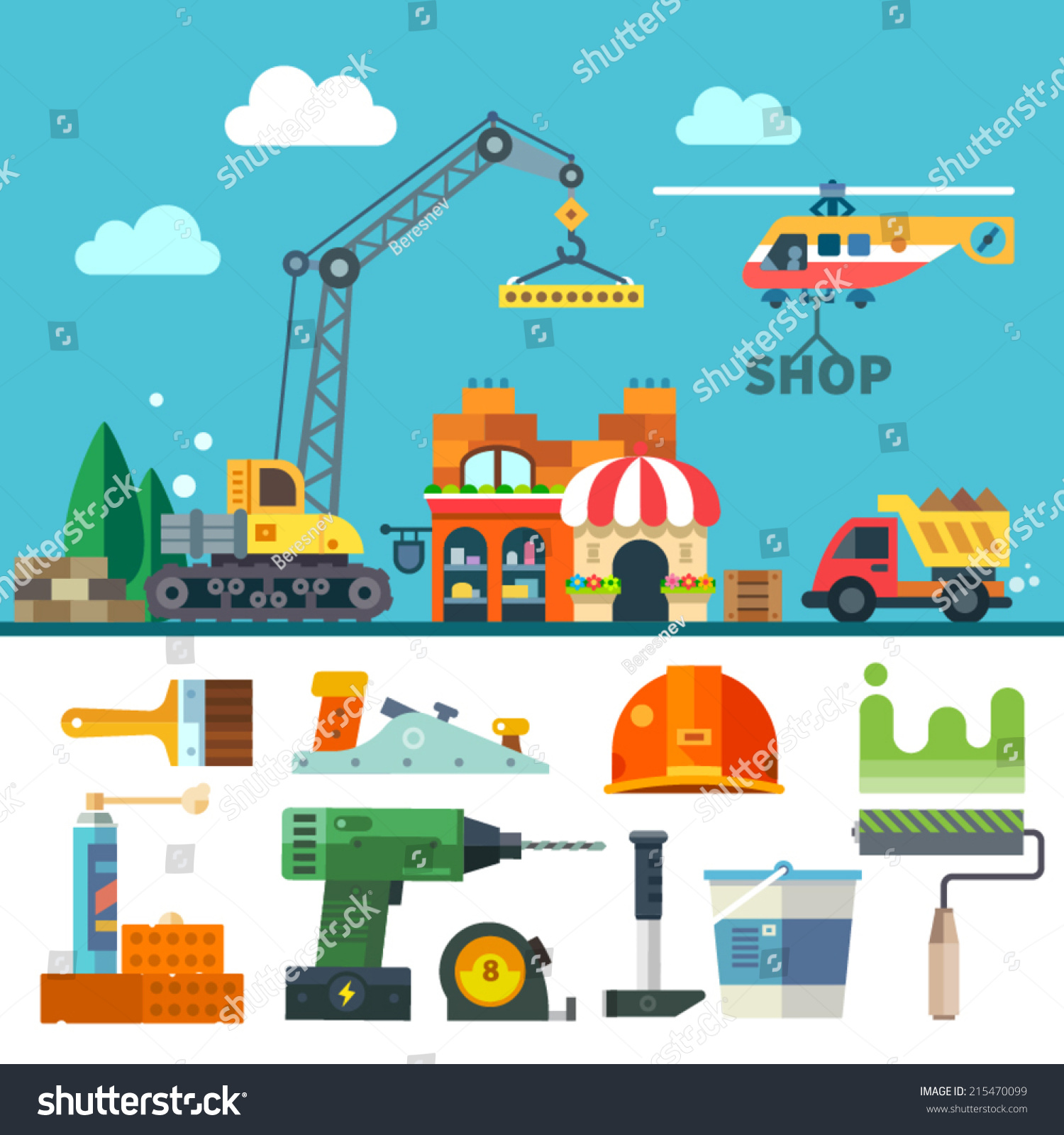 Construction process tools materials vector flat stock for Process for building a house