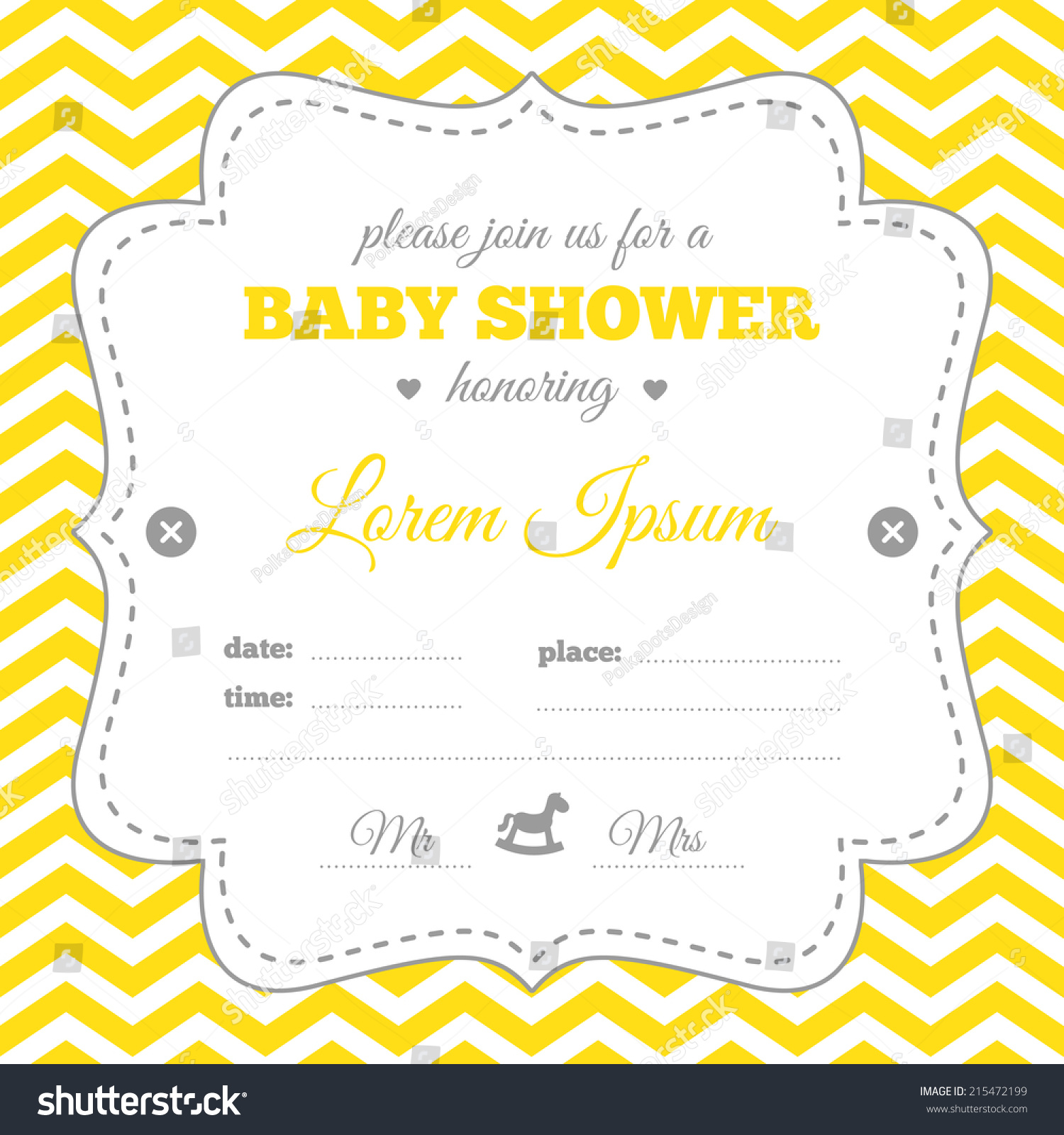 Baby Shower Invitation White Gray Yellow Stock Vector 215472199 ...