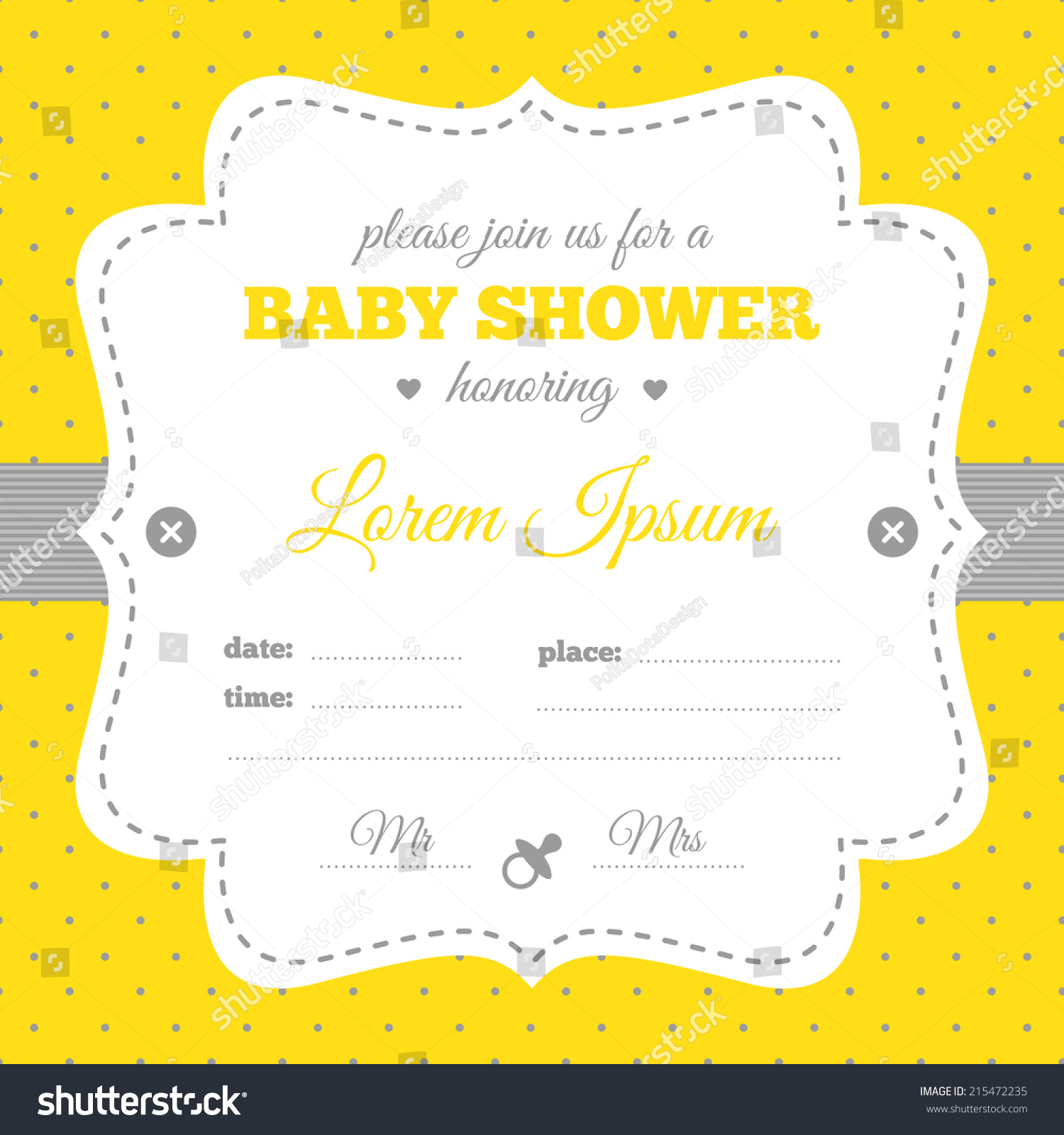 Baby Shower Invitation White Gray Yellow Stock Vector 215472235 ...