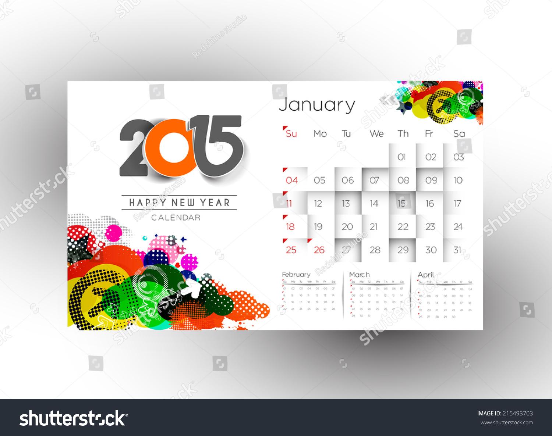 Creative Calendar Layout : Creative new year calendar background stock vector
