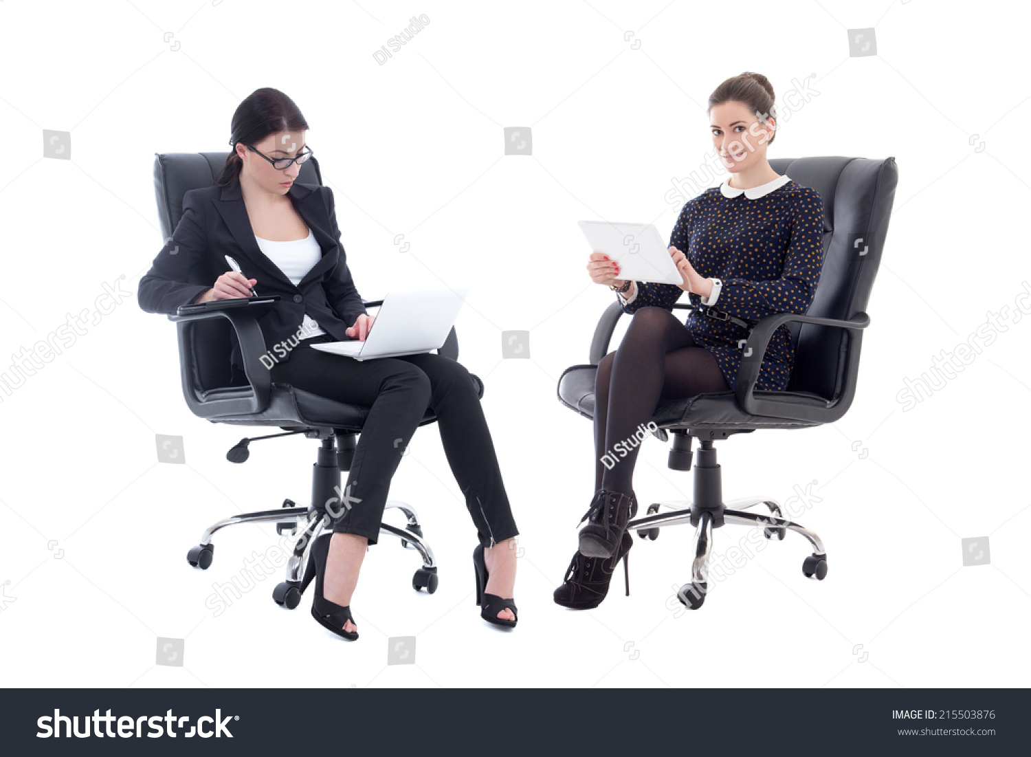 office furniture for women. Two Beautiful Business Women Sitting On Office Chairs With Tablet Pc And Laptop Isolated White Furniture For