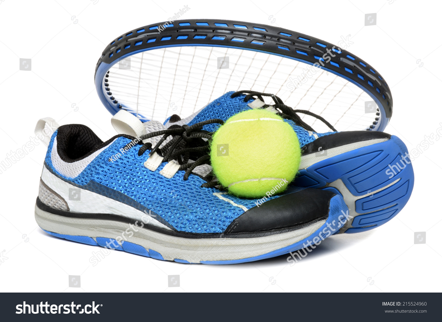tennis racket shoes isolated on stock photo 215524960