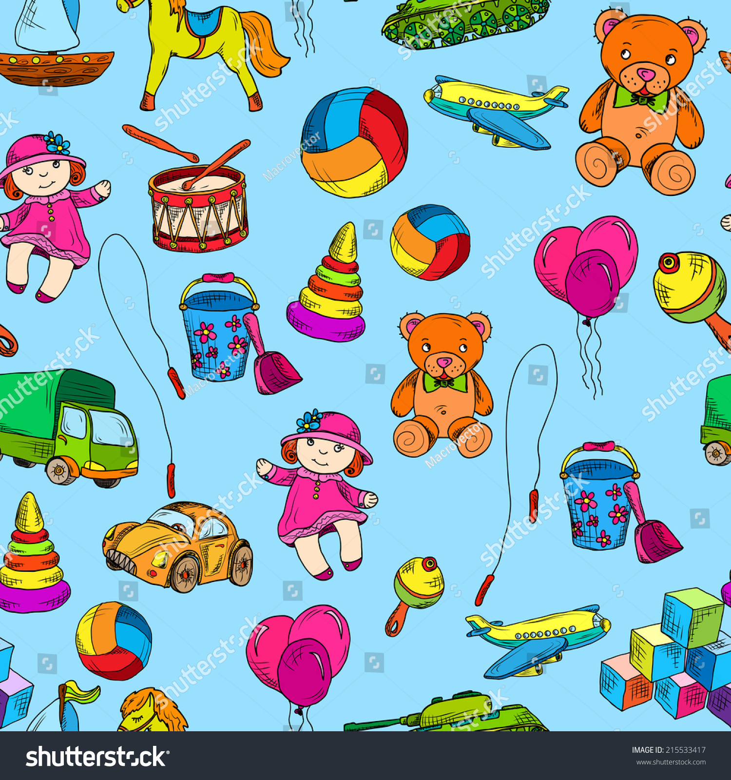Vintage Kids Toys Sketch Colored Seamless Stock Vector