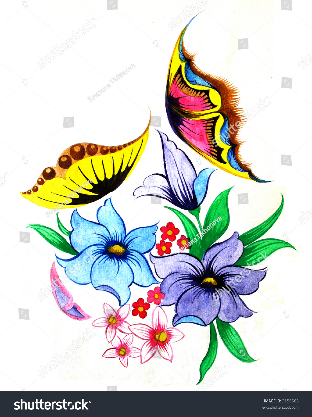 flowers butterflies scan original drawing stock photo 2155563