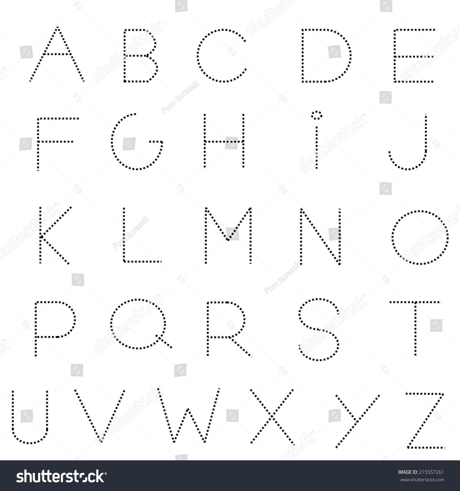dashed line alphabet letters set
