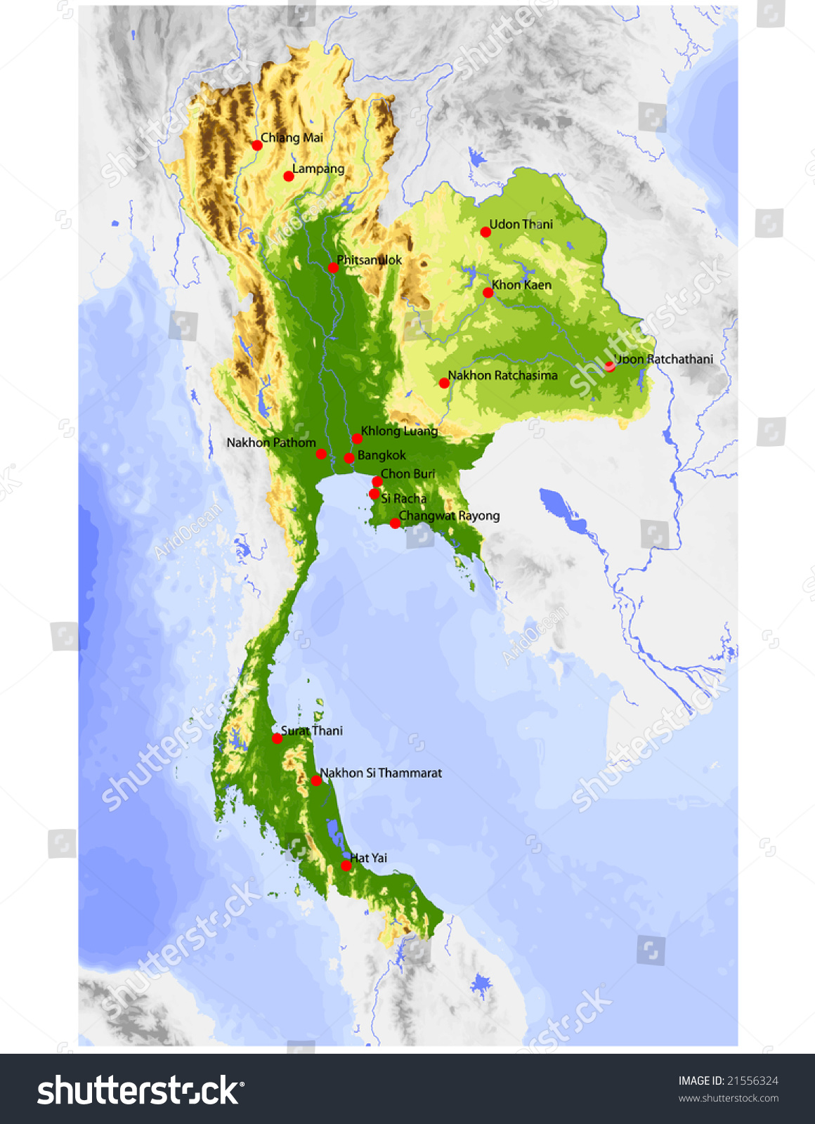 thailand physical vector map colored according stock