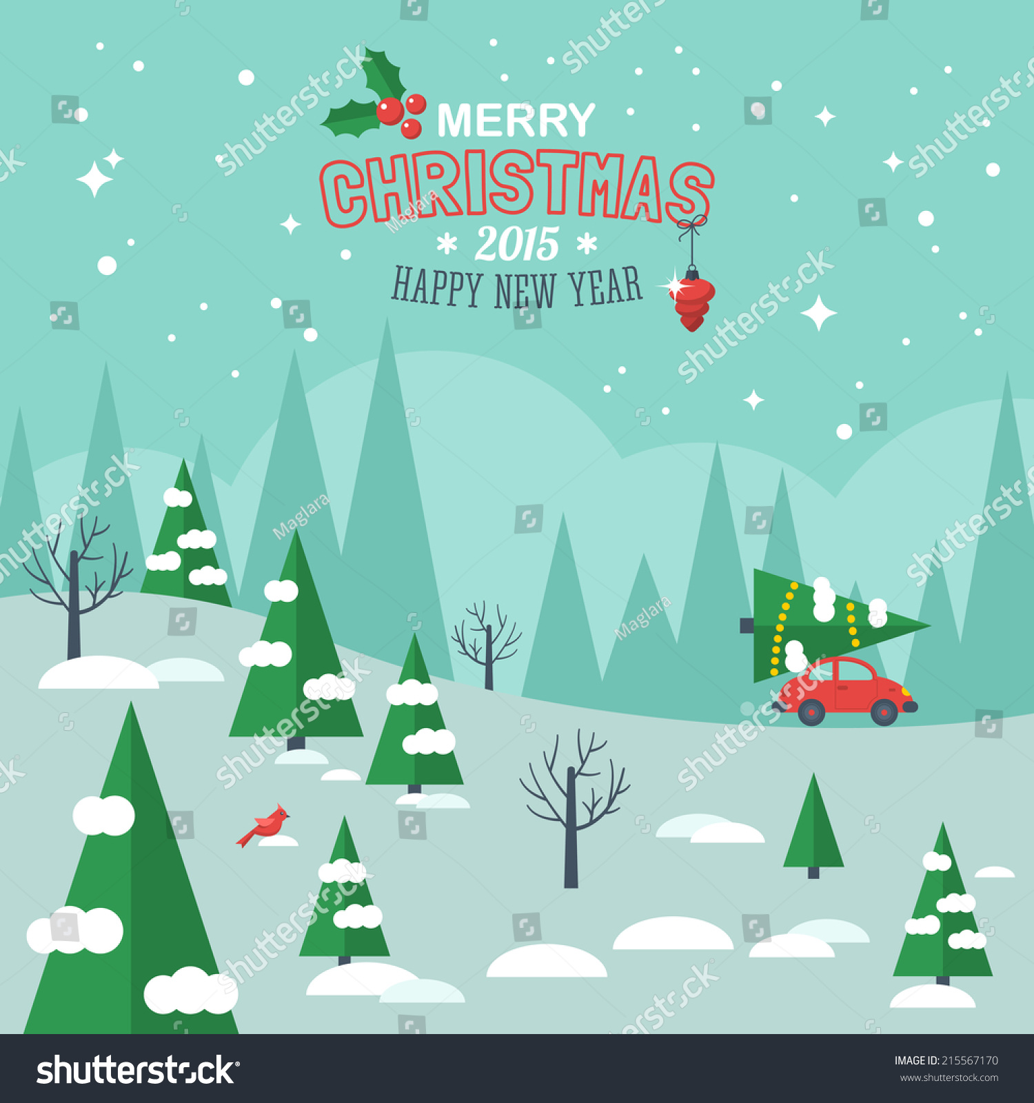 Decorating Tips For A Modern Merry Christmas: Flat Design Modern Vector Illustration For Christmas