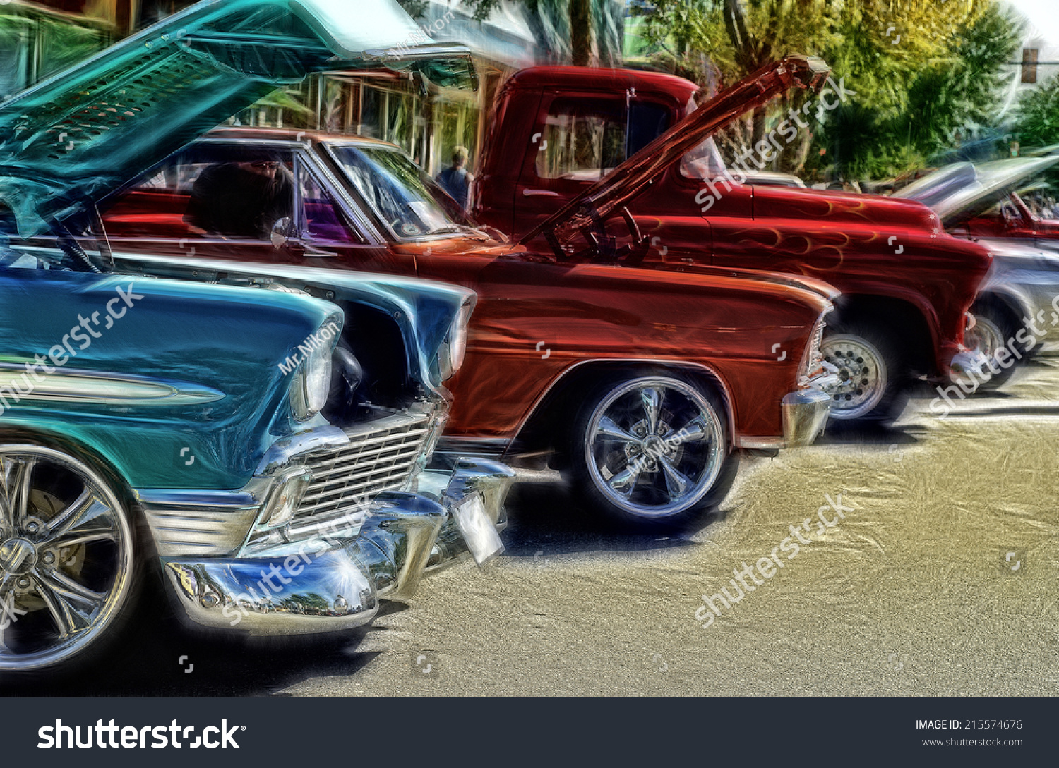 Abstract Vintage Car Show Background Stock Illustration 215574676