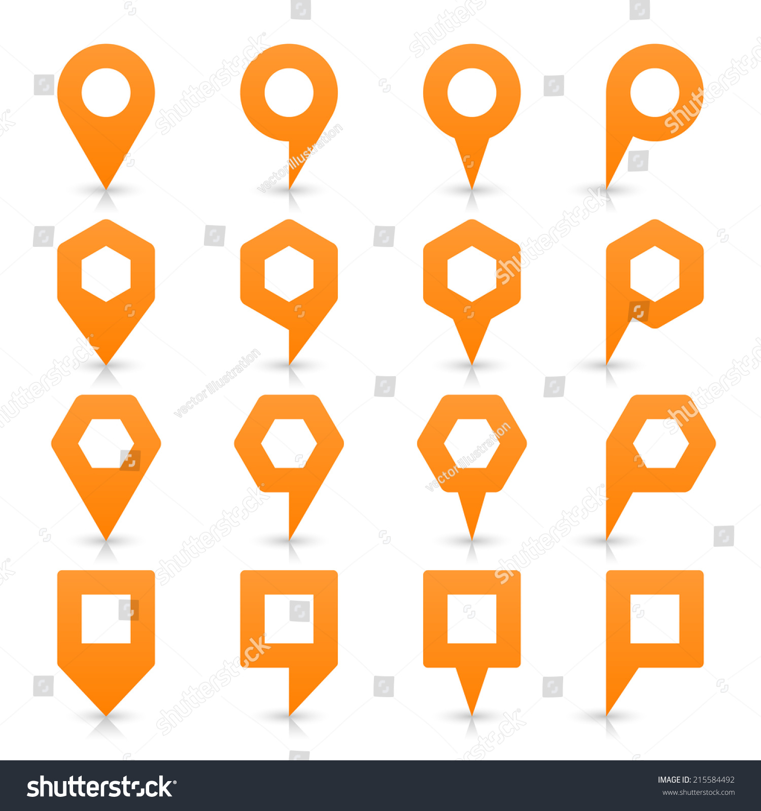 Orange map pin sign location icon with empty copy space and gray
