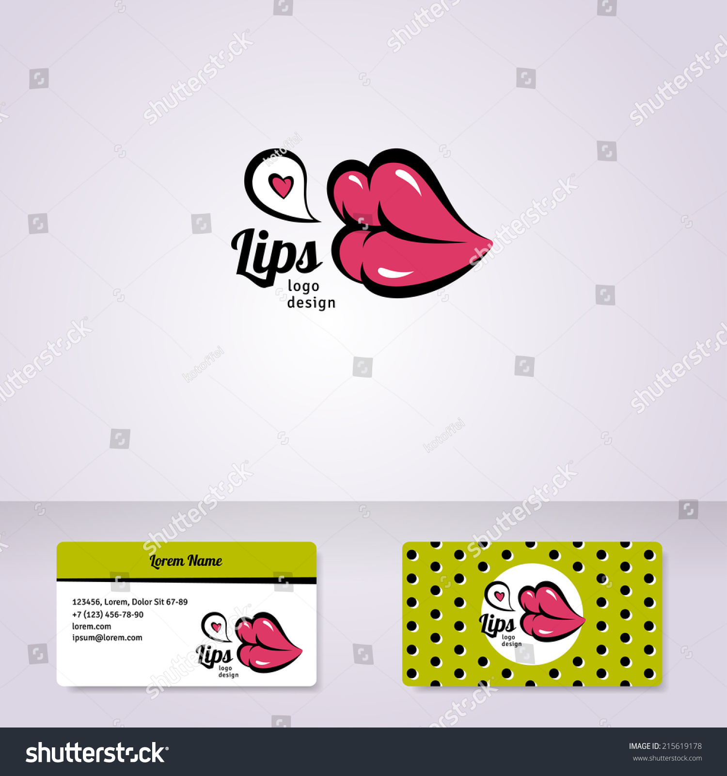 colorful lips logo design business pany stock vector