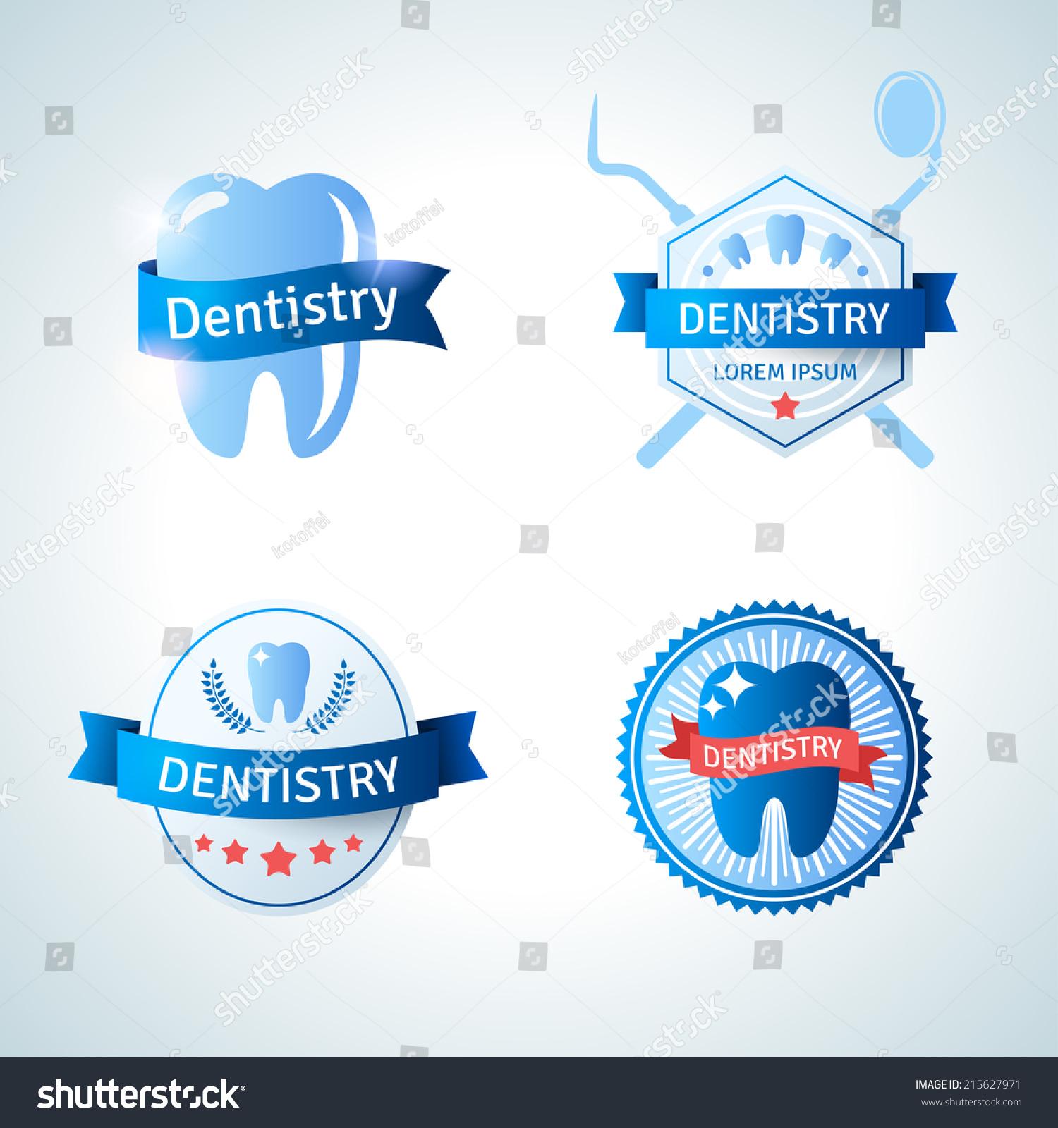 Dental Logos Collection Vector Illustration Vintage Stock Vector ...