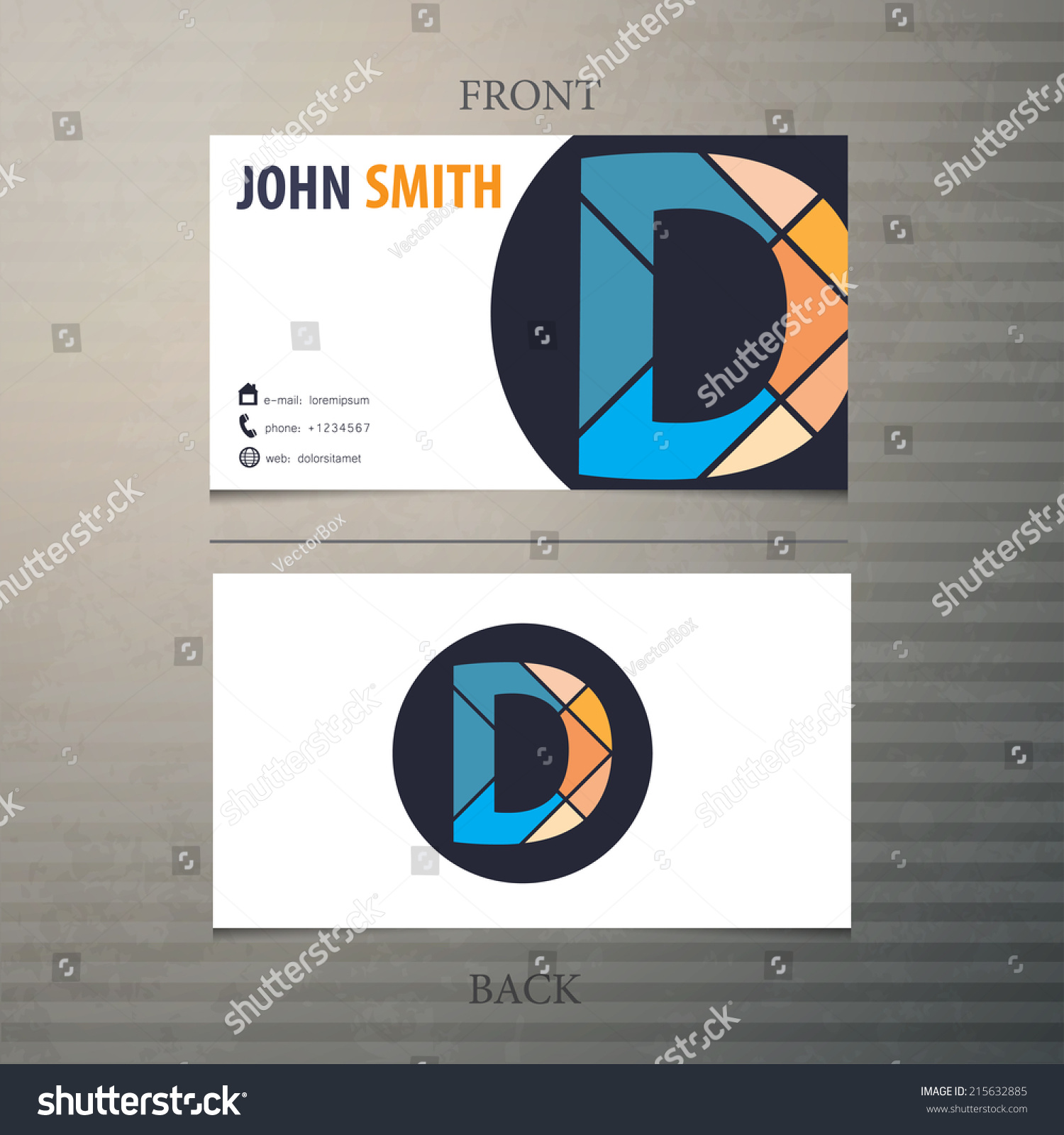 Business card template letter d stock vector 215632885 shutterstock business card template letter d colourmoves