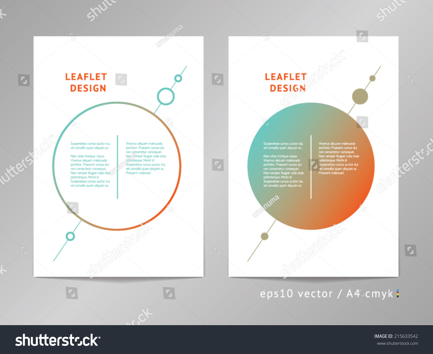 Set of two two column vector leaflet brochure cover for 4 column brochure template