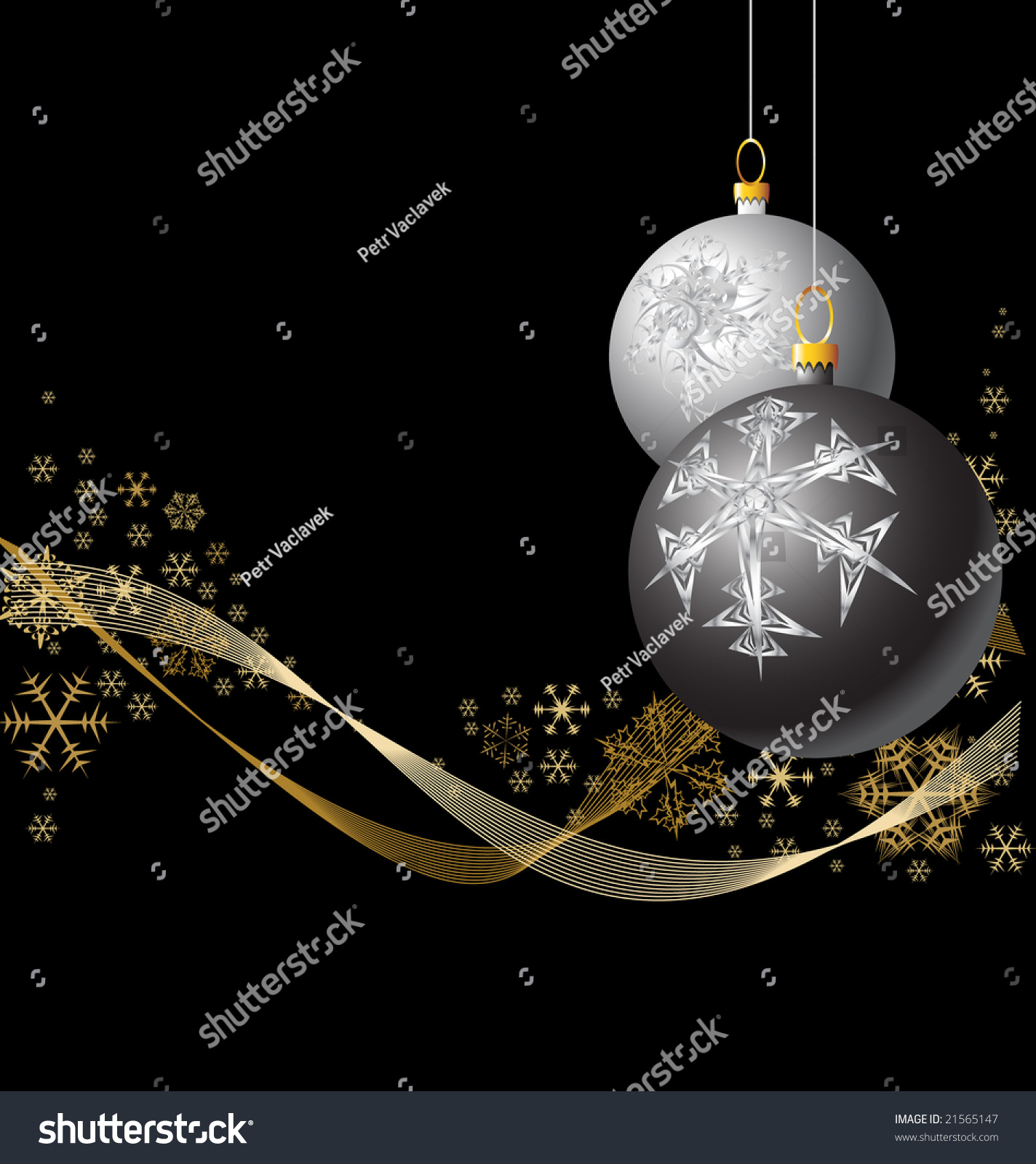 Black and silver christmas bulbs with golden snowflakes - Black and silver christmas ...