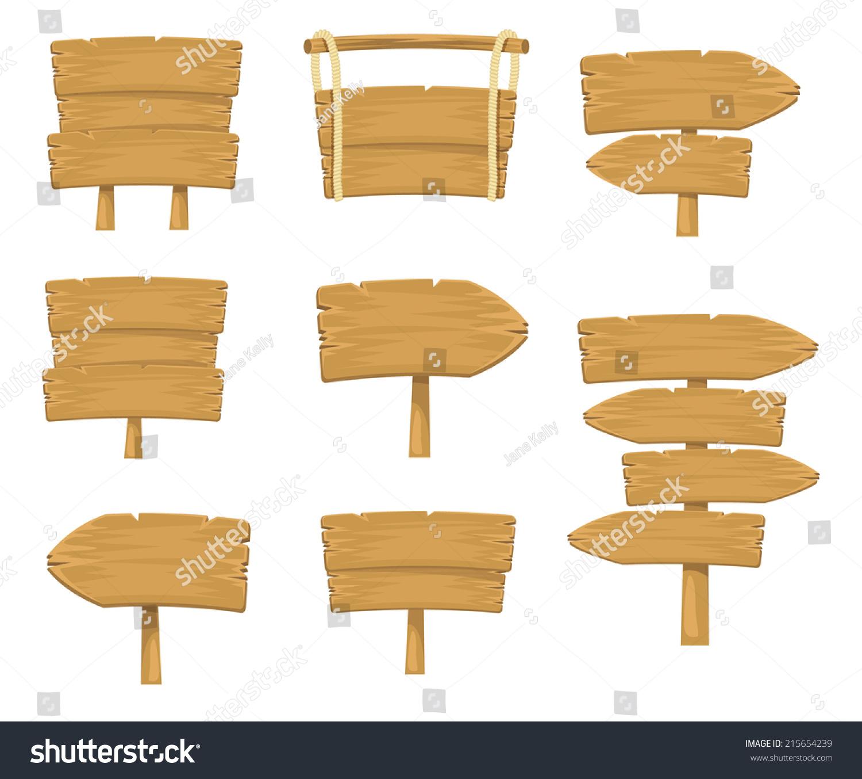 Cartoon Wood Board ~ Stock vector wooden sign boards simple