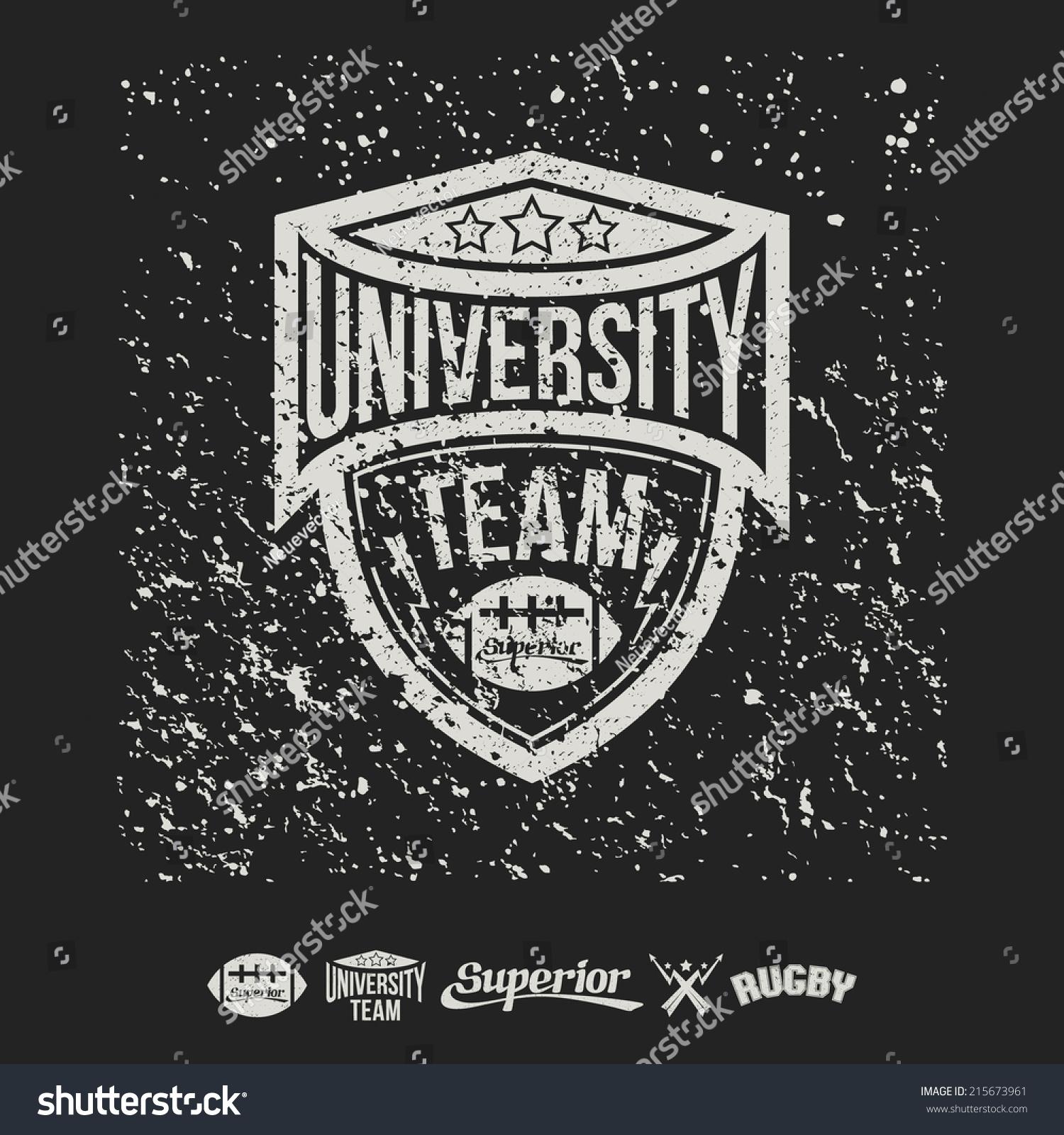 Design t shirt rugby - Rugby Emblem University Team And Design Elements Graphic Design For T Shirt On Black