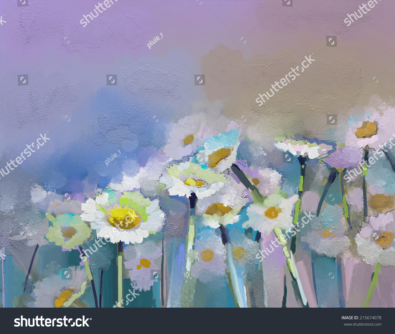 Abstract Oil Painting White Flowers Field Stock Illustration