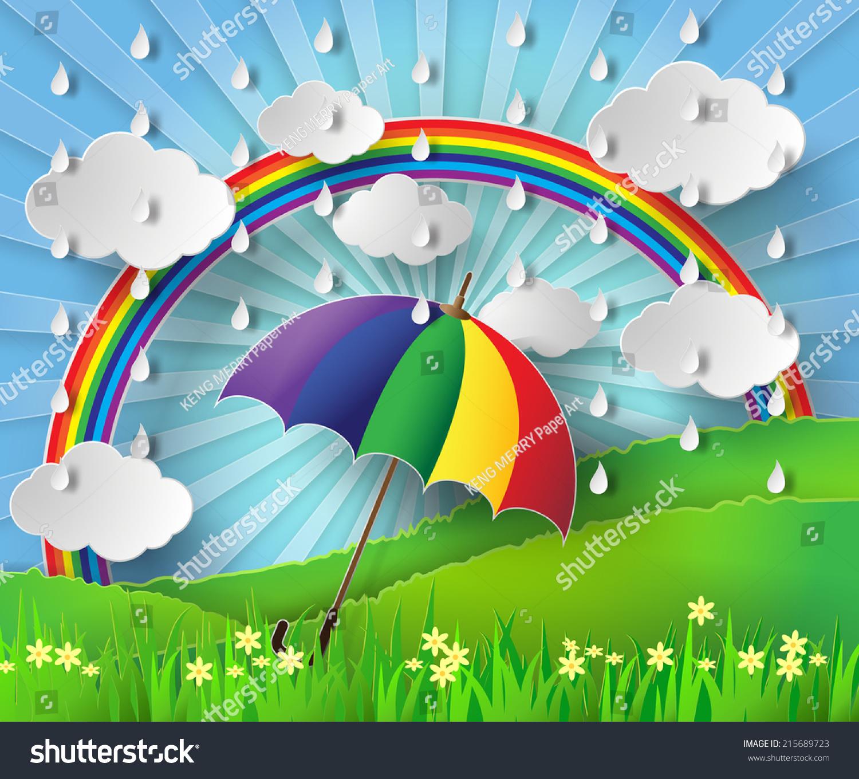 Paper Art Colorful Umbrella Rain Rainbow Stock Vector (Royalty Free ...