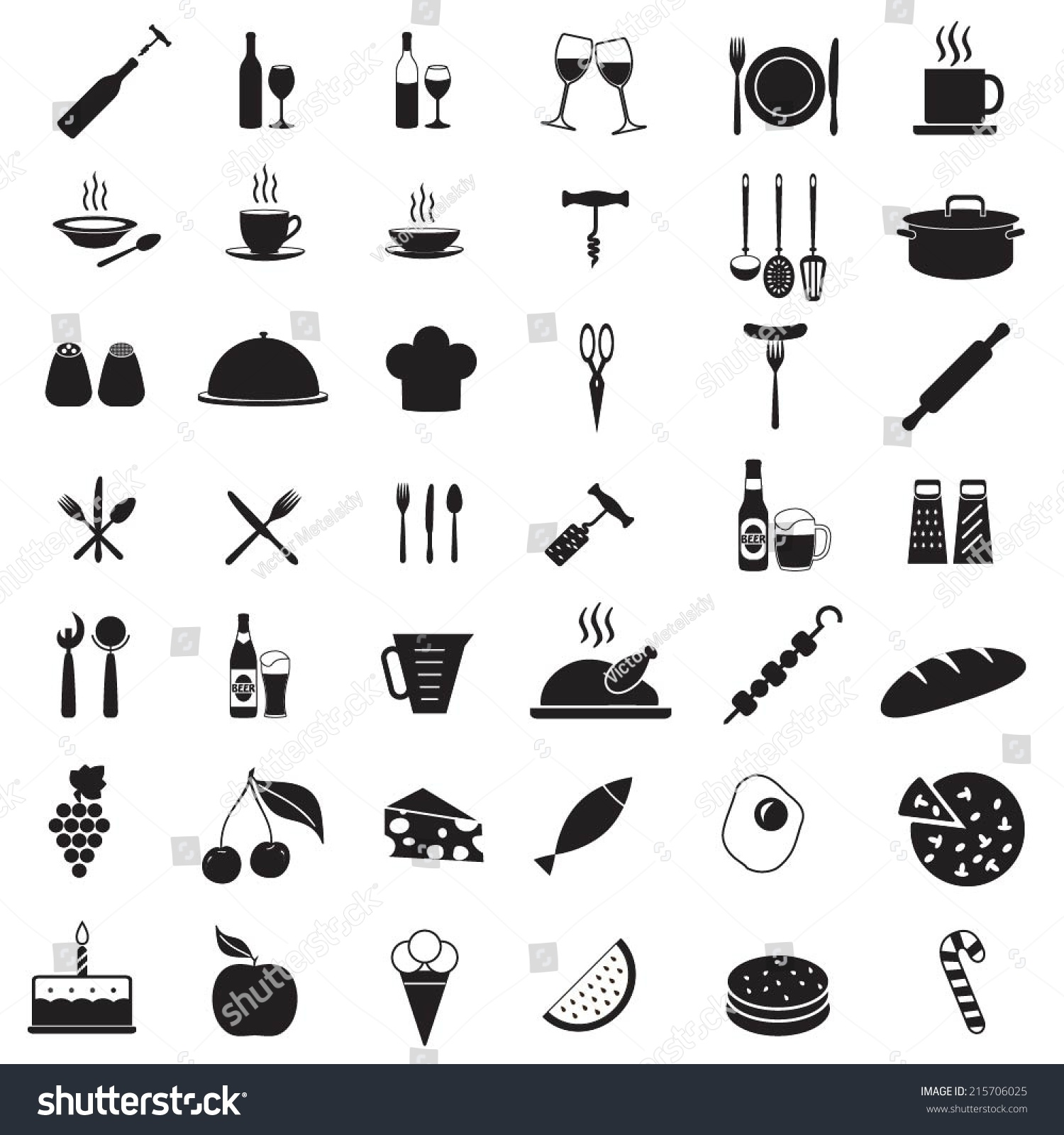 Kitchen tools icon set food drink stock vector