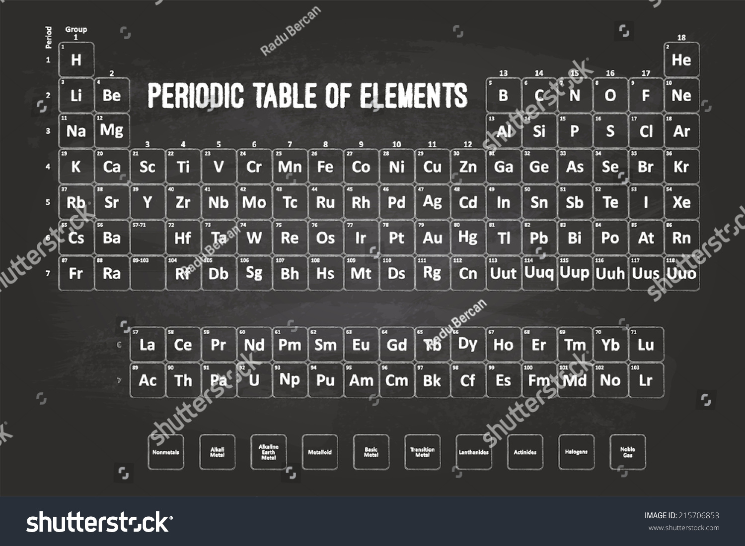 Periodic table elements chalk font on stock illustration 215706853 periodic table of elements with chalk font on black chalkboard gamestrikefo Images