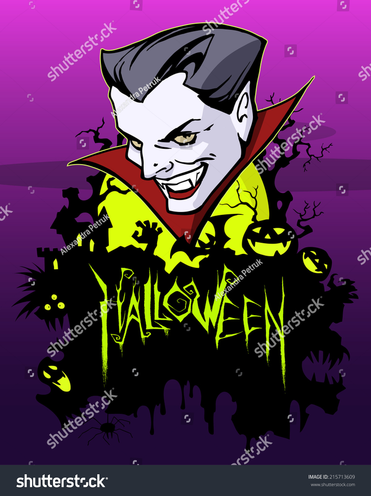 Halloween Party Greeting Card Vampire Stock Vector Royalty Free