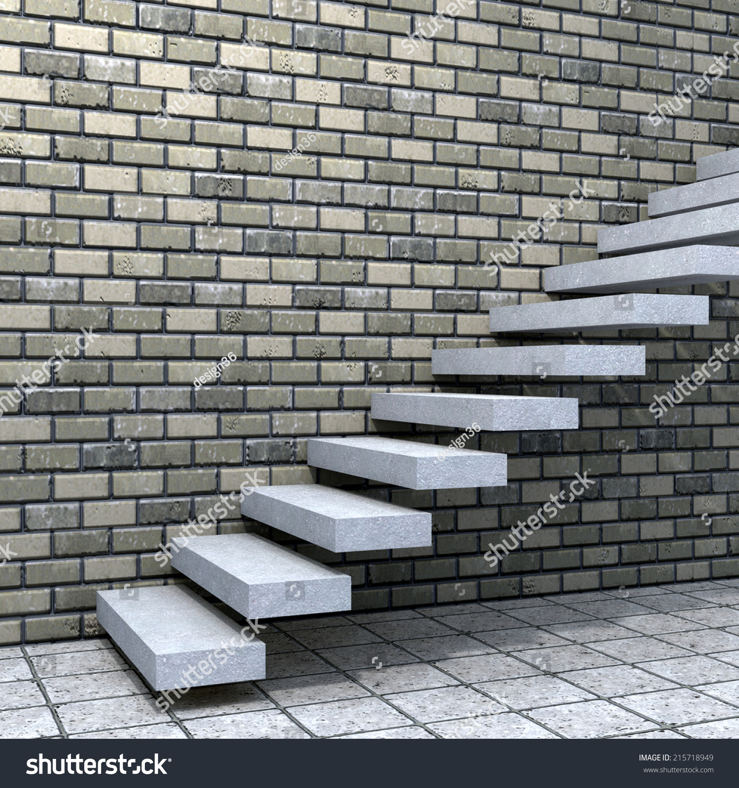 Concept Conceptual White Stone Concrete Stair Stock