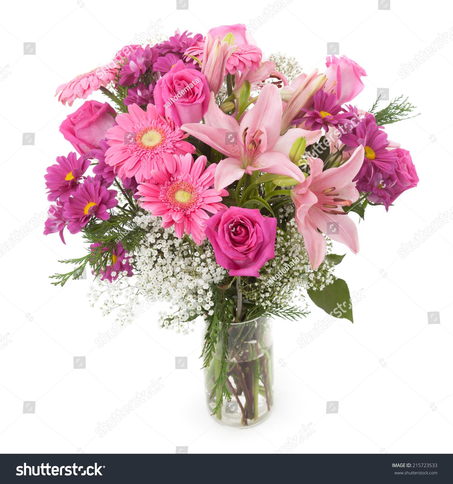 Pink Flowers Bunch Vase Gypsophila Rose Stock Photo Edit Now