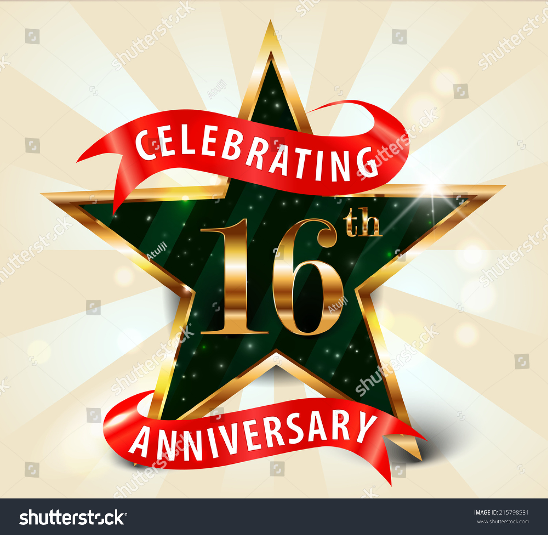 16 Year Anniversary Celebration Golden Star Stock Vector ...