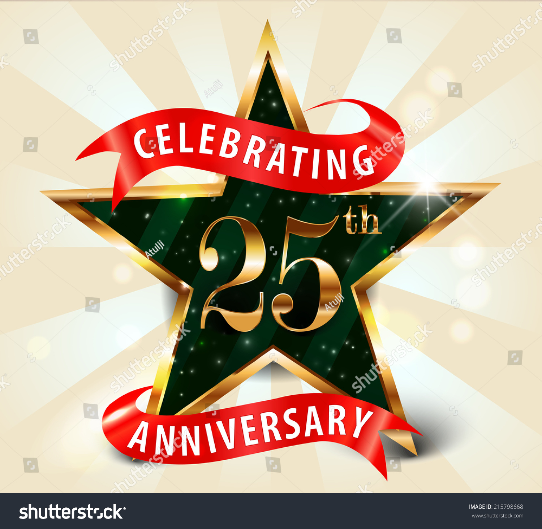 Royalty-free 25 year anniversary celebration golden… #215798668 ...