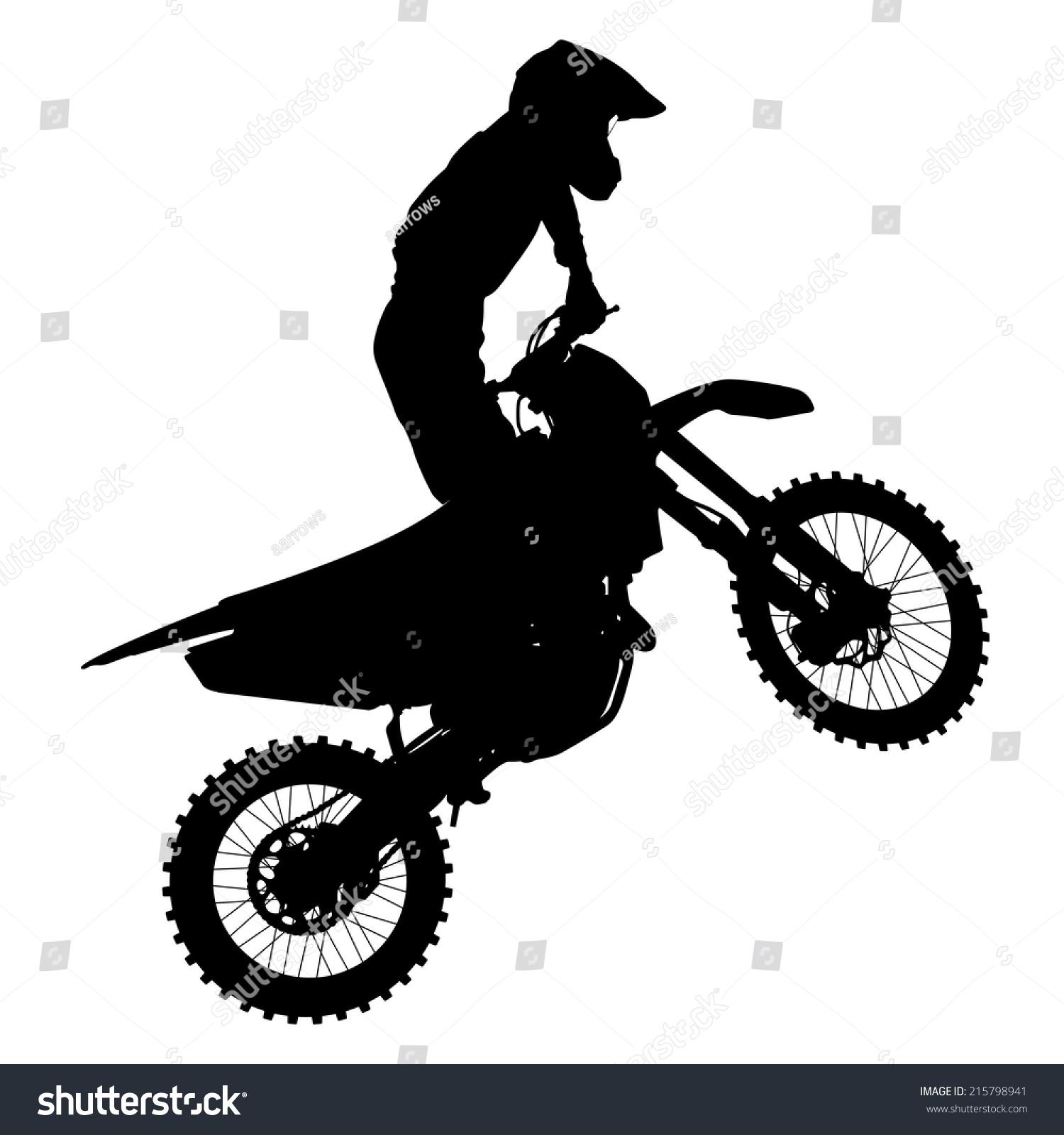 Vetor Stock De Black Silhouettes Motocross Rider On Motorcycle Livre De Direitos 215798941