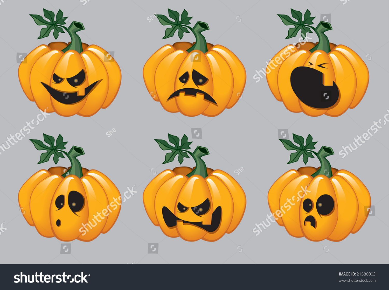 Cartoon halloween pumpkins emotions on their stock for Surprised pumpkin face