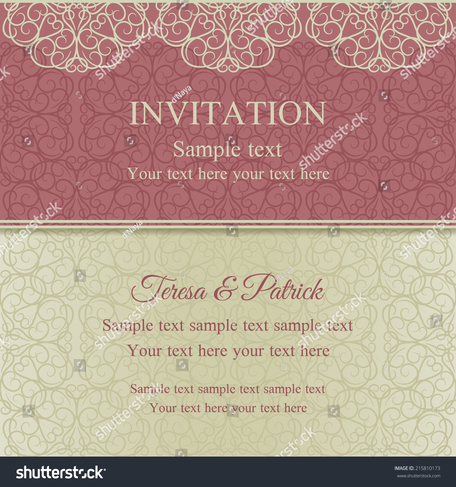 Baroque Invitation Card Oldfashioned Style Pink Stock Vector ...