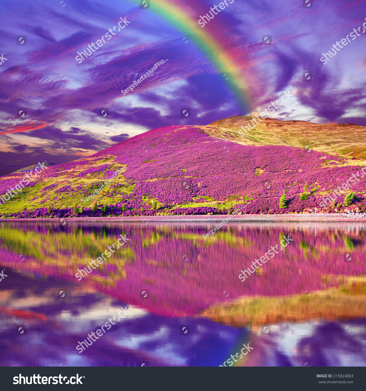 Colorful landscape scenery of rainbow over hill slope for Find a landscaper