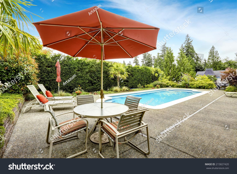 Backyard Swimming Pool Deck Chairs Patio Stock Photo Edit Now 215827420