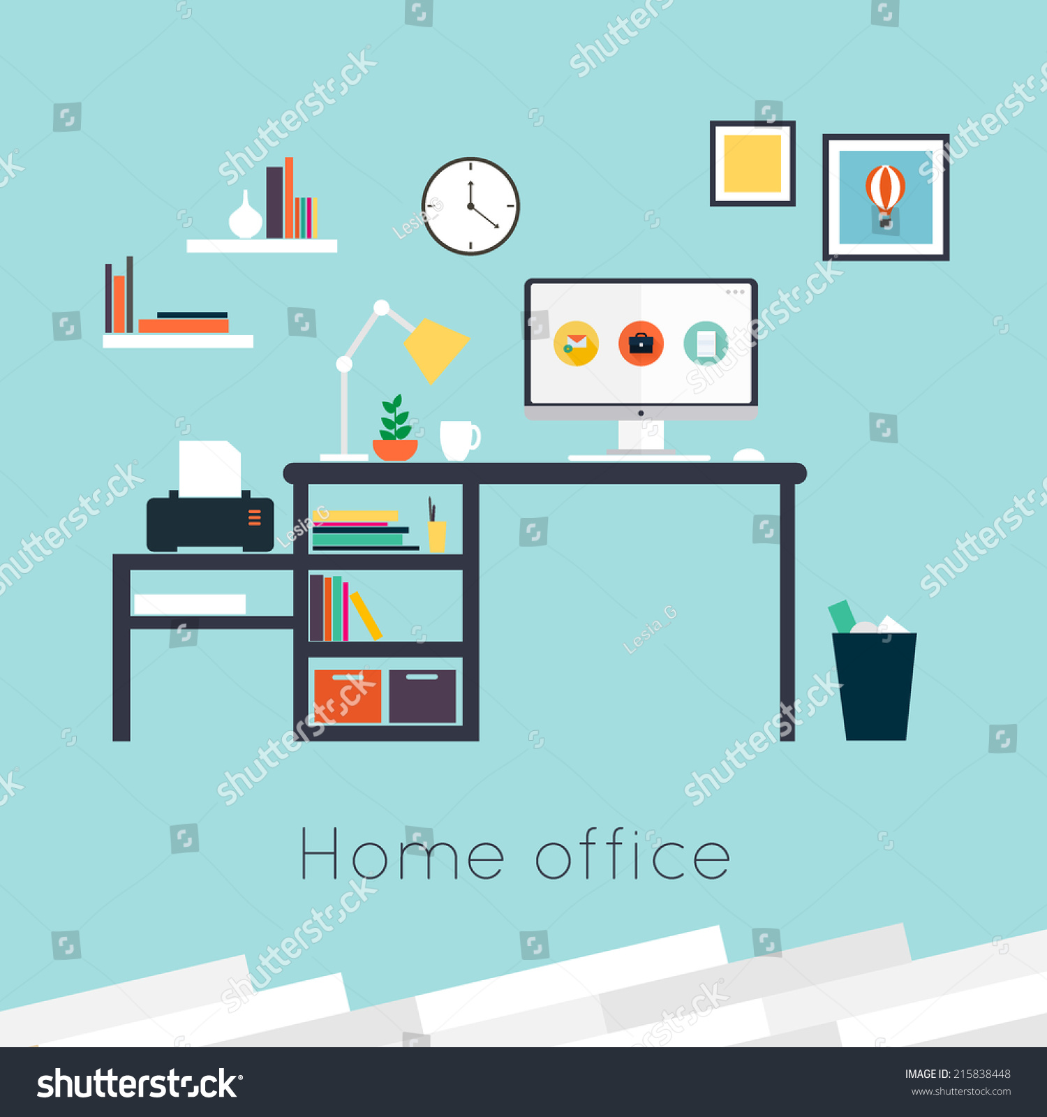home office furniture accessories flat design stock vector 1500x1600