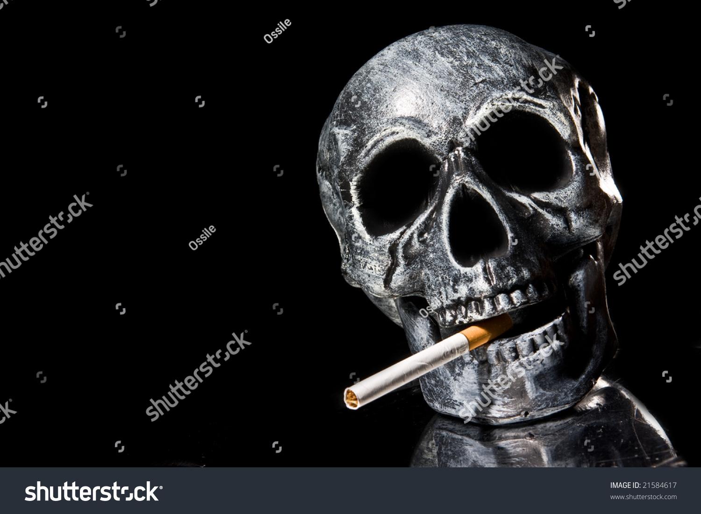 Skull smoking a cigarette