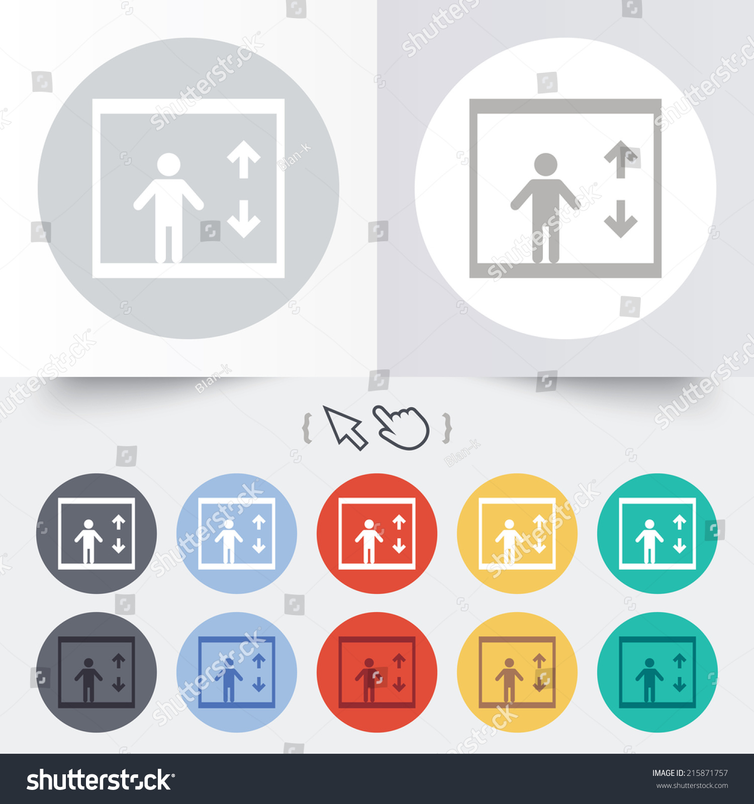 Elevator sign icon person symbol down stock illustration 215871757 person symbol with up and down arrows round 12 circle buttons biocorpaavc Choice Image