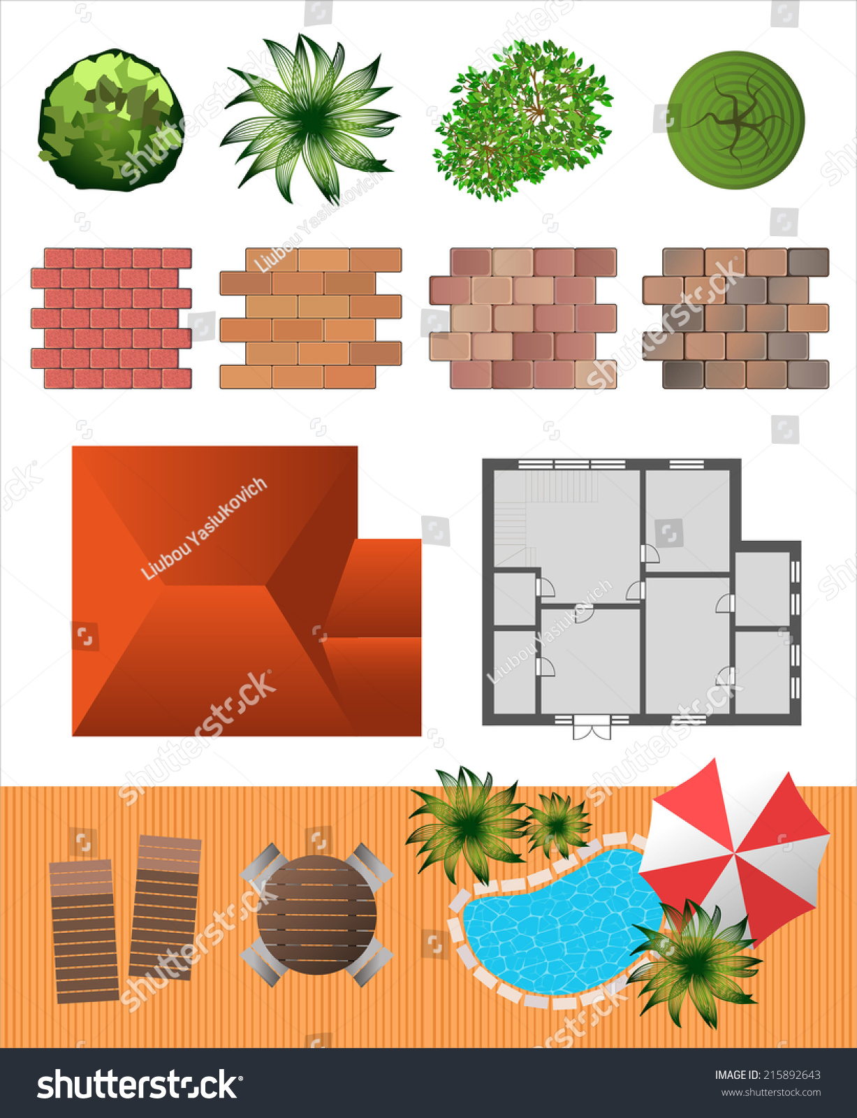 Detailed landscape design elements make your stock vector for Design your landscape